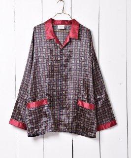 古着ヨーロッパ製 ネイビー×ボルドー 小紋柄 パジャマシャツ 古着のネット通販 古着屋グレープフルーツムーン
