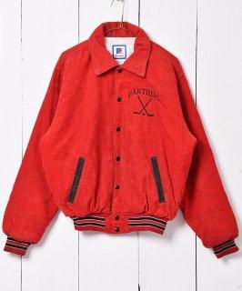古着コーデュロイ 刺繍 スタジャン レッド 古着のネット通販 古着屋グレープフルーツムーン