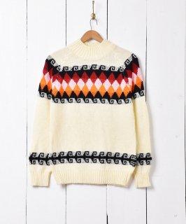 古着ハイネック 丸ヨークデザイン セーター 古着のネット通販 古着屋グレープフルーツムーン