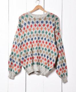 古着ひし形 総柄 セーター 古着のネット通販 古着屋グレープフルーツムーン