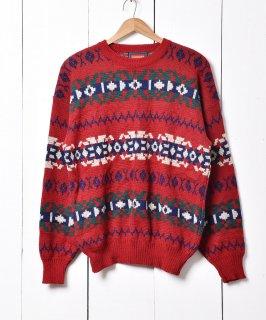 古着ノルディック柄 クルーネック セーター 古着のネット通販 古着屋グレープフルーツムーン