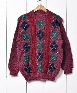 古着アラン編み切り替え アーガイル柄 クルーネックセーター 古着のネット通販 古着屋グレープフルーツムーン
