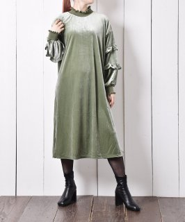 古着【2色展開】Meridian ベロア フリルワンピース ミント 古着のネット通販 古着屋グレープフルーツムーン