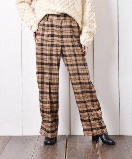古着【2色展開】Meridian チェック柄 タックパンツ ベージュ 古着のネット通販 古着屋グレープフルーツムーン