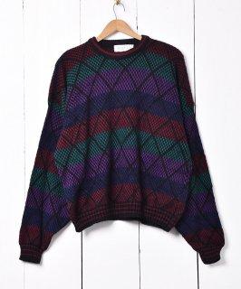 古着アメリカ製 カラフル リブニットセーター ブラック 古着のネット通販 古着屋グレープフルーツムーン
