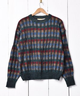 古着チェック柄 カラフル 3Dデザインセーター 古着のネット通販 古着屋グレープフルーツムーン