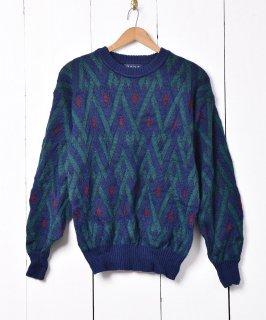 古着総柄 ウールニットセーター ブルー×グリーン 古着のネット通販 古着屋グレープフルーツムーン