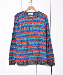 古着アメリカ製 カラフル 格子柄 ニットセーター 古着のネット通販 古着屋グレープフルーツムーン