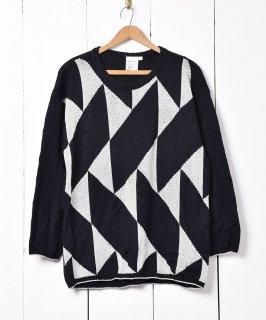 古着幾何学柄 ラメニットセーター ブラック 古着のネット通販 古着屋グレープフルーツムーン