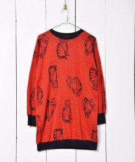 古着猫柄 ハイゲージ クルーネックセーター 古着のネット通販 古着屋グレープフルーツムーン