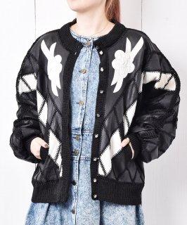 古着花モチーフ 刺繍 レザージャケット カーディガン 古着のネット通販 古着屋グレープフルーツムーン