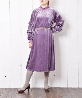 古着【2色展開】Meridian ベロア フリルワンピース パープル 古着のネット通販 古着屋グレープフルーツムーン