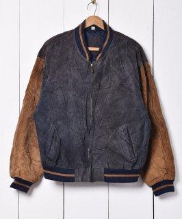 古着袖切り替え 2トーンカラー レザー ブルゾンジャケット グレー×ブラウン 古着のネット通販 古着屋グレープフルーツムーン