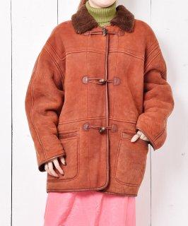 古着イタリア製 トグル釦 ムートンコート 古着のネット通販 古着屋グレープフルーツムーン