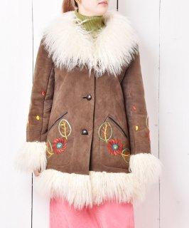 古着花刺繍 ファー付き ムートンコート 古着のネット通販 古着屋グレープフルーツムーン