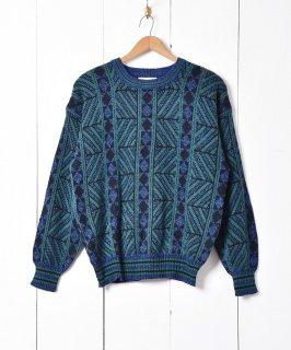 古着ローゲージ クルーネック デザインニットセーター 古着のネット通販 古着屋グレープフルーツムーン