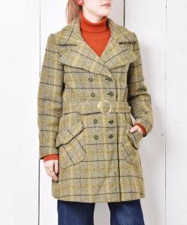 古着アメリカ製 ウインドウペンチェック ベルト付き ダブルコート 古着のネット通販 古着屋グレープフルーツムーン