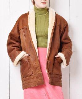 古着ショールカラー ムートンコート ブラウン 古着のネット通販 古着屋グレープフルーツムーン