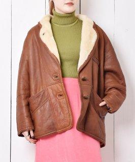 古着イタリア製 ショート丈 ムートンレザーコート 古着のネット通販 古着屋グレープフルーツムーン