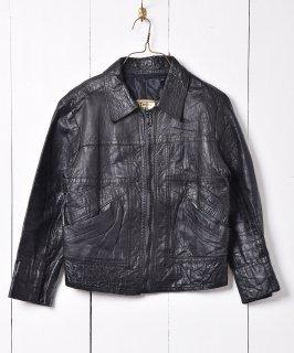 古着切り替えデザイン レザーシングルジャケット 古着のネット通販 古着屋グレープフルーツムーン