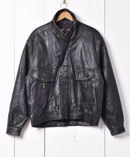 古着切り替えデザイン スタンドカラー 比翼仕立て レザージャケット  古着のネット通販 古着屋グレープフルーツムーン