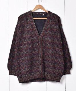 古着イタリア製 ウェーブパターン ニットカーディガン 古着のネット通販 古着屋グレープフルーツムーン