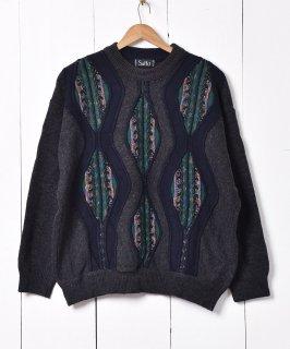 古着イタリア製  デザインセーター チャコールグレー 古着のネット通販 古着屋グレープフルーツムーン
