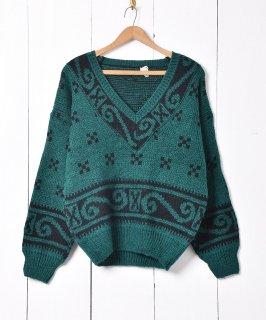古着イタリア製 総柄 Vネックセーター 古着のネット通販 古着屋グレープフルーツムーン