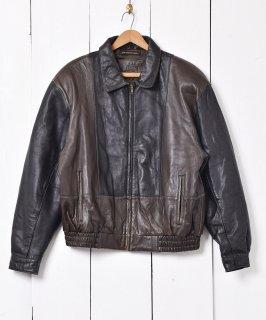 古着フランス製 「G.F.I」切り替えデザイン 2トーン レザージャケット 古着のネット通販 古着屋グレープフルーツムーン