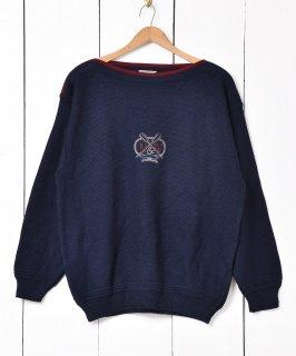 古着イタリア製 刺繍デザイン ボートネックセーター 古着のネット通販 古着屋グレープフルーツムーン