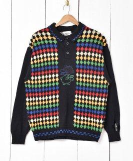 古着ドイツ製 ダイヤ柄 ニットセーター 古着のネット通販 古着屋グレープフルーツムーン
