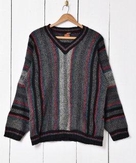 古着イタリア製 ストライプ柄 Vネックセーター 古着のネット通販 古着屋グレープフルーツムーン