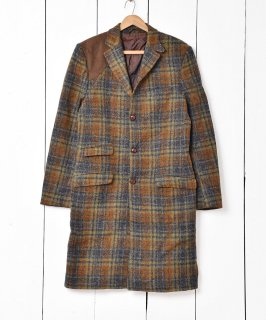 古着スコットランド製 「Harris Tweed」チェック柄 コート 古着のネット通販 古着屋グレープフルーツムーン