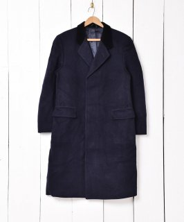 """古着イングランド製 ベロア襟 ウールチェスターコート""""MoorBrook""""社製ファブリック 古着のネット通販 古着屋グレープフルーツムーン"""