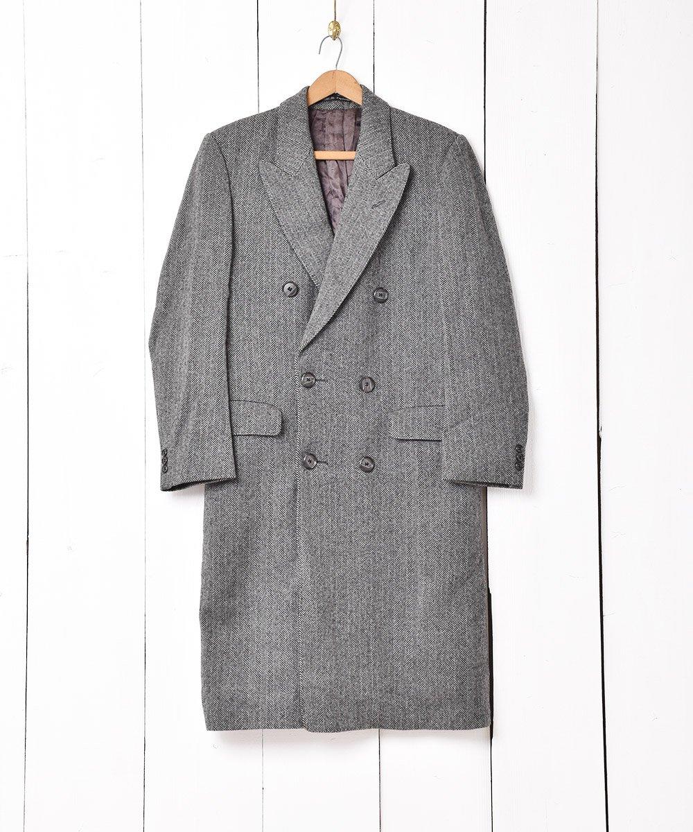 古着 イングランド製 ヘリンボーン ダブルチェスターコート 古着 ネット 通販 古着屋グレープフルーツムーン