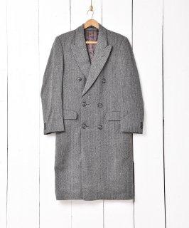 古着イングランド製 ヘリンボーン ダブルチェスターコート 古着のネット通販 古着屋グレープフルーツムーン