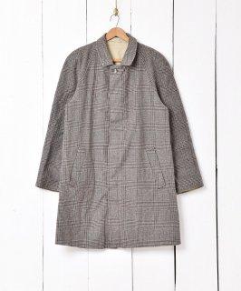 古着ベージュ×グレンチェック リバーシブル ステンカラーコート  古着のネット通販 古着屋グレープフルーツムーン