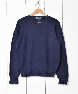 古着「Ralph lauren」刺繍 ポニーロゴ クルーネックセーター 古着のネット通販 古着屋グレープフルーツムーン