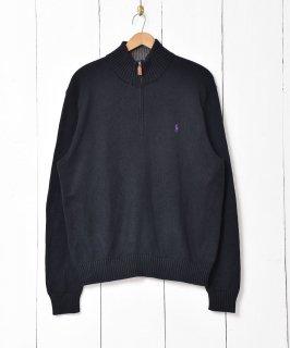 古着「Ralph lauren」刺繍 ポニーロゴ ハーフジップセーター ブラック 古着のネット通販 古着屋グレープフルーツムーン