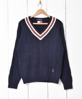 古着「TOMMY HILFIGER」ケーブル編み チルデン セーター 古着のネット通販 古着屋グレープフルーツムーン