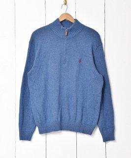 古着「Ralph lauren」刺繍 ポニーロゴ ハーフジップセーター ブルー系 古着のネット通販 古着屋グレープフルーツムーン