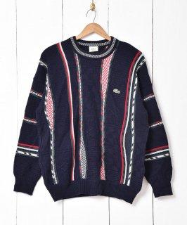 古着「LACOSTE」立体編み クルーネックセーター ネイビー系 古着のネット通販 古着屋グレープフルーツムーン