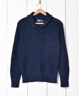 古着「Ralph lauren」ショールカラーセーター ネイビー系 古着のネット通販 古着屋グレープフルーツムーン