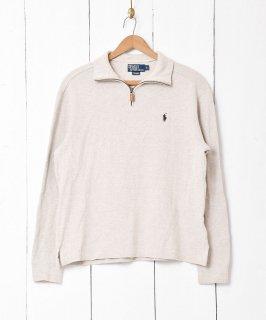 古着「Ralph lauren」刺繍 ポニーロゴ ハーフジップセーターアイボリー 古着のネット通販 古着屋グレープフルーツムーン