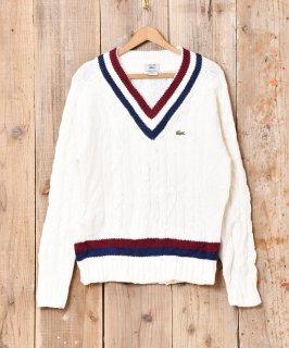 古着「IZOD LACOSTE」ケーブル編み チルデンセーター ホワイト 古着のネット通販 古着屋グレープフルーツムーン