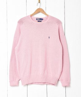 古着「Ralph Lauren」ポニーロゴクルーネックセーター ピンク 古着のネット通販 古着屋グレープフルーツムーン
