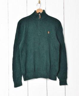 古着「Ralph lauren」刺繍 ポニーロゴ ハーフジップセーター グリーン 古着のネット通販 古着屋グレープフルーツムーン