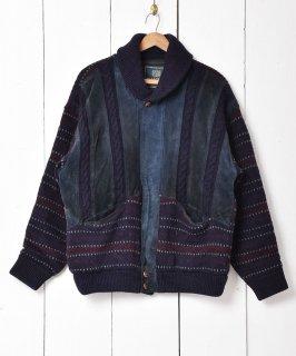 古着イタリア製 ケーブル編み スエード切り替え ニットジャケット 古着のネット通販 古着屋グレープフルーツムーン