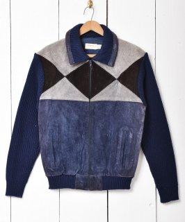 古着「Arrow」スエード切り替え  ニットジャケット ネイビー系 古着のネット通販 古着屋グレープフルーツムーン