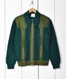 古着「Montgomery WARD」スエード切り替え  ニットジャケット グリーン系 古着のネット通販 古着屋グレープフルーツムーン